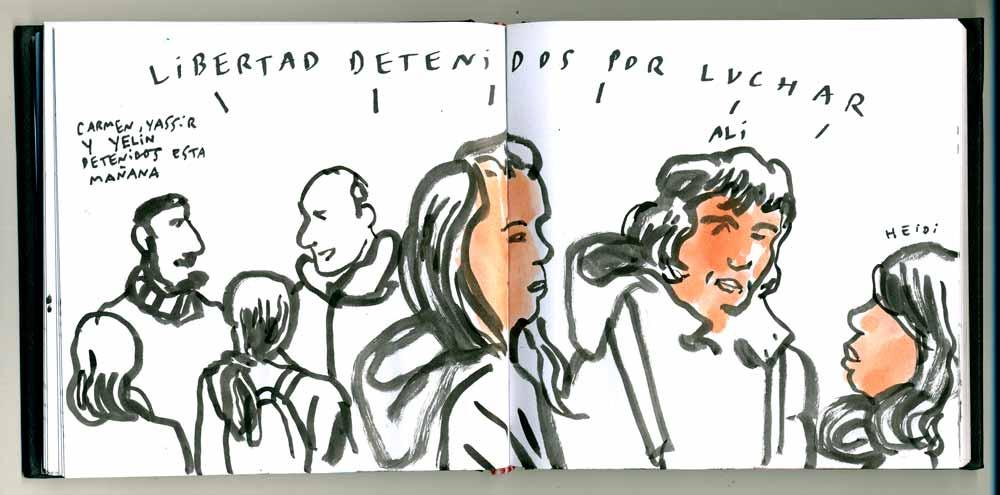 Web Enrique Flores http://www.4ojos.com/blog/?p=11277 | Imagen de la concentración en la Plaza de Lavapiés contra la detención de Yasir, Yelin y Carmen